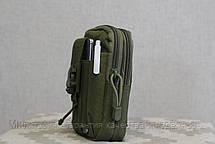 Тактическая универсальная (поясная) сумка - подсумок Mini warrior с системой M.O.L.L.E Olive (001-olive), фото 3