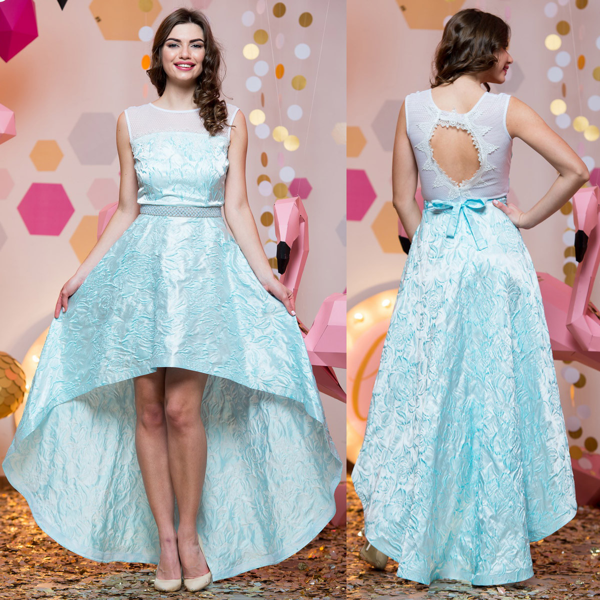 """Ошатне асиметричне вечірня сукня блакитне """"Віват"""""""