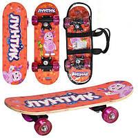Скейтборд/скейт детский мини Bambi Лунтик: 43х13см