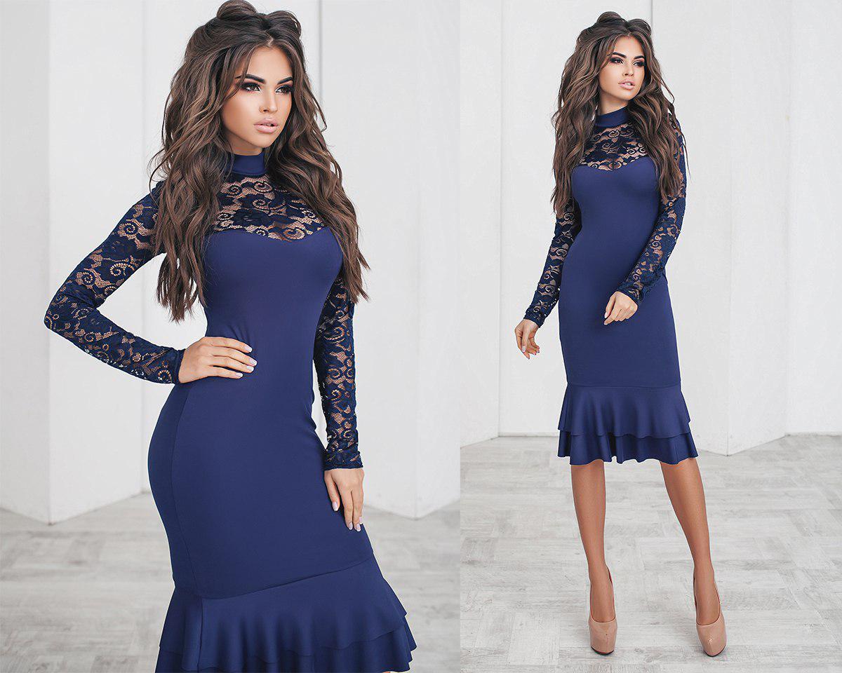 7db3020efba Обворожительное коктейльное красивое платье с гипюровыми рукавами синее
