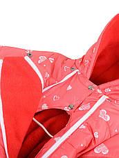 Демисезонный комбинезон на флисе, розовый, р.80,, фото 3