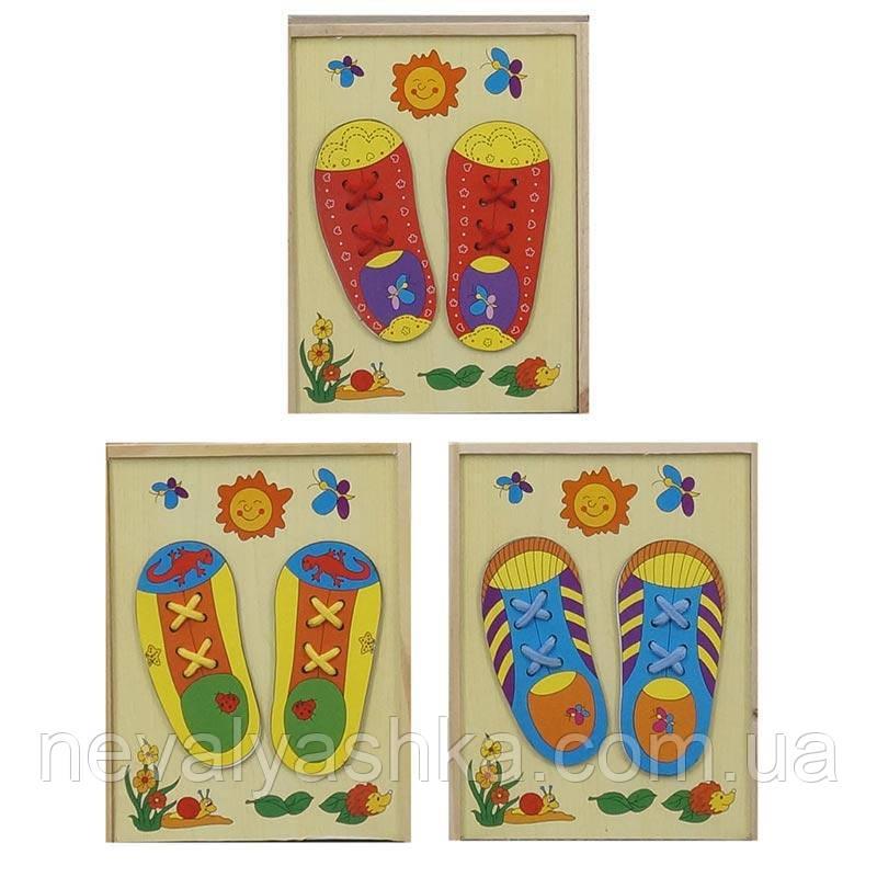 Деревянная игрушка Шнуровочка Шнуровка обувь кеды ботинок, 779-616, 005891