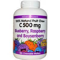 Черника, малина, бейзенова ягода, Витамин С- 500, Natural Factors, 180 жевательных пластинок