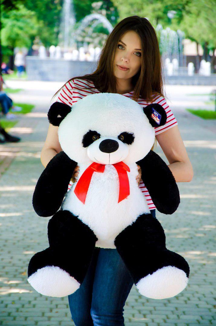 Великий плюшевий ведмедик 90 см. панда Рональд чорно-білий