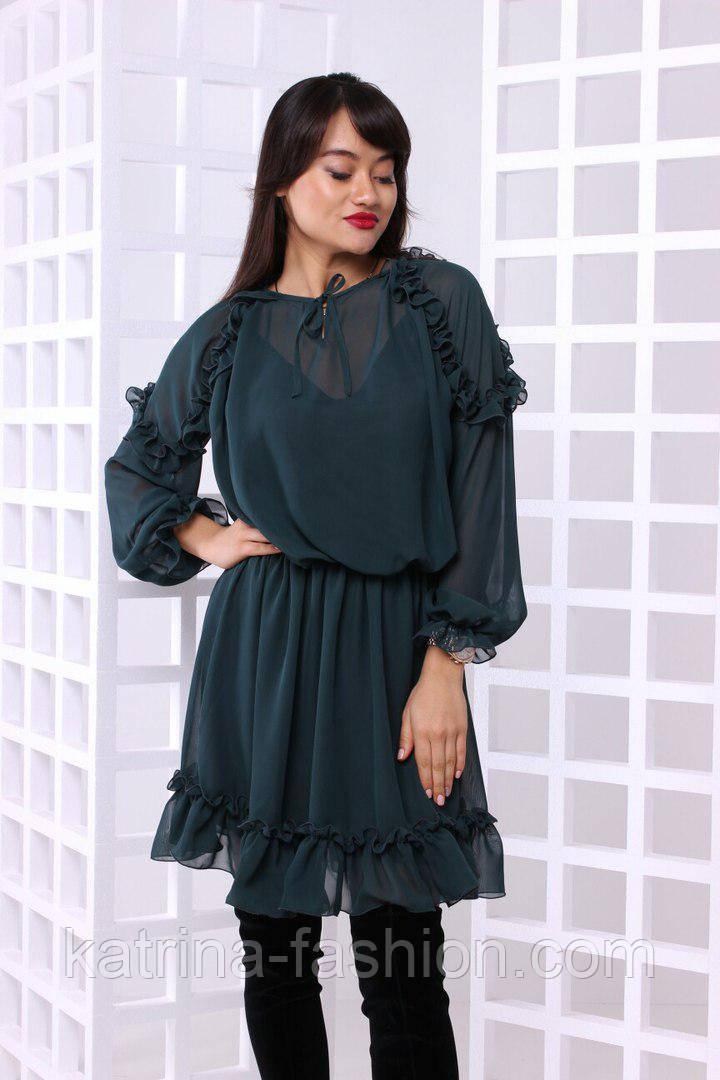Женское струящееся шифоновое платье (4 цвета)