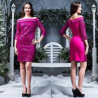 """Жіноче плаття малинове з паєтками """"Руслана"""", фото 1"""