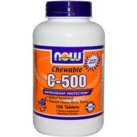 Жевательный витамин С - 500, Now Foods, вишня, 100 таблеток