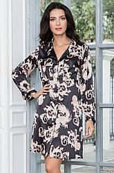 Короткое платье-рубашка из искуственного атласного шелка. Италия Mia-Mia Versachi Gold 9937