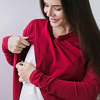 """Топ футболка с запáхом для беременных и кормящих - """"Бордо"""" C удобным реглан секретом, для доступа к груди , фото 1"""