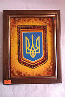Тризубец  картина из янтаря