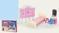 Набор мебели для куклы Спальня 24014: кровать + туалетный столик + шкаф