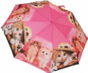 Женский складной зонт автомат (розовый)