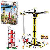 Конструктор стройплощадка, дом, кран, машина, фигурки,1461 деталей в коробке