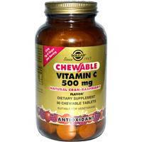 Жевательный витамин С, Solgar, Малина, 500 мг, 90 жевательных таблеток
