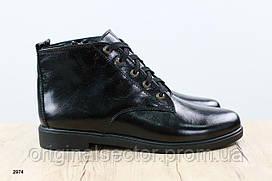 Классические черные ботинки женские на байке