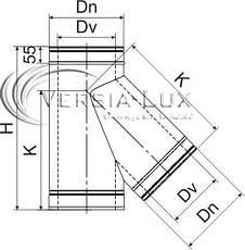 Тройник 45° для дымохода нержавейка в нержавейке, фото 3