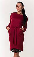 Женское платье с поясом и гипюровой вставкой ZANNA BREND вечернее M, Бордовый