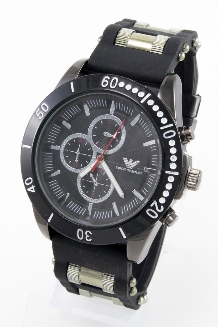 Мужские наручные часы Emporio Armani, Армани чёрные с чёрным циферблатом ( код: IBW081BB )