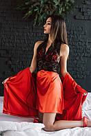 """Сексуальный женский комплект """"Jasmine"""" халатик и пеньюар с кружевом (4 цвета)"""