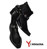 Мужские зимние кожаные ботинки, Etor, черные