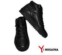 Мужские зимние кожаные ботинки,PAV, черные, прошитые