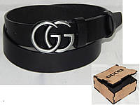 Ремень мужской кожаный в коробке GUCCI ширина 40 мм. 930547