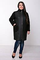 Прямое пальто больших размеров из стеганной кожи Лусия квадрат