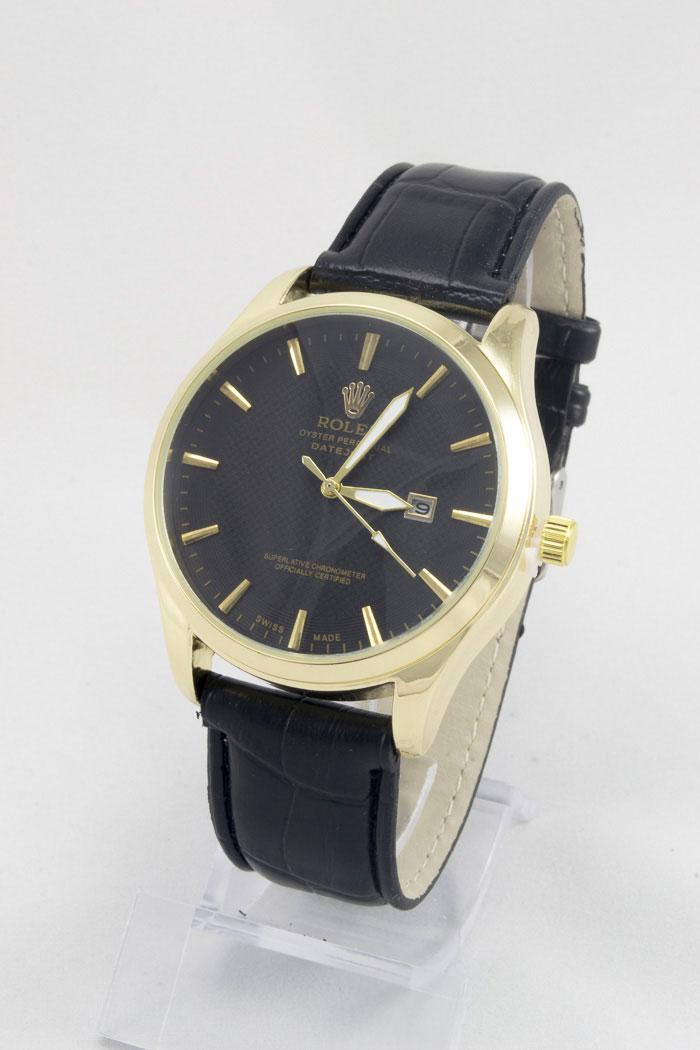 Мужские наручные часы Rolex (Ролекс) золотые с чёрным циферблатом ( код: IBW085YB )