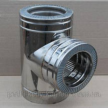 Тройник 90° для дымохода нержавейка в оцинковке, фото 2