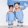 Костюм летний для девочки- топ+рванные джинсы
