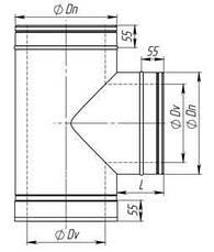 Тройник 90° для дымохода нержавейка в оцинковке, фото 3