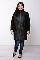 Прямое пальто больших размеров из стеганной кожи Лусия ромб