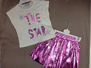 Летний костюм для девочек с розовой юбкой