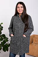 Легкое пальто больших размеров Дора темно-серое