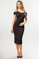 Черное облегающее платье миди на бретелях, фото 1