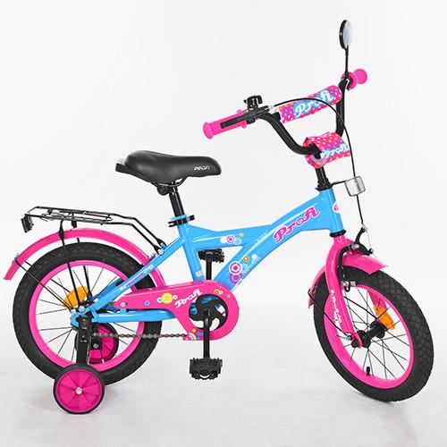 Велосипед двухколёсный детский 14 дюймов Profi Original girl T1464 голубо-розововый
