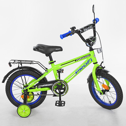 Велосипед двухколёсный детский 14 дюймов Profi Forward T1472 салатовый