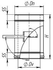 Регулятор тяги для дымохода из нержавеющей стали в оцинковке, фото 2