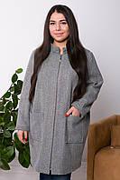 Легкое пальто больших размеров Дора серое елочка