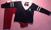 Костюм — Велюр 6-9-12 мес. Костюм на мальчика бордовые штаны и черная кофта