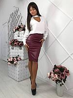Модная женская кожаная юбка со змейкой сзади