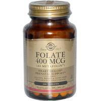 Фолат в форме метафолина, Solgar,  400 мкг, 100 таблеток