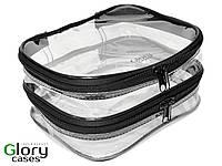 Косметичка прозрачная для визажиста Glory Cases на 2 отдела Черный