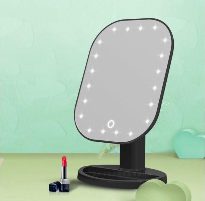 Зеркало косметическое с подсветкой настольное черное