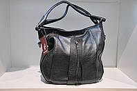 Кожаная женская сумка серая 0018-212