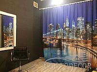 """ФотоШторы """"Манхэттенский мост"""" 2,75м*2,9м (2 полотна по 1,45м), тесьма"""