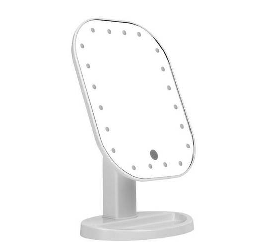 Зеркало с подсветкой для макияжа настольное белое