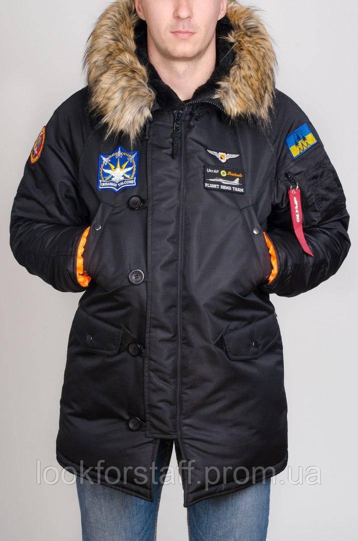 Модная зимняя парка Olymp с нашивками - Аляска черная