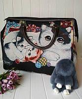 Текстильная дорожная сумка с кошками