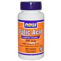 Фолиевая кислота с витамином В12, Now Foods,  800 мкг, 250 таблеток